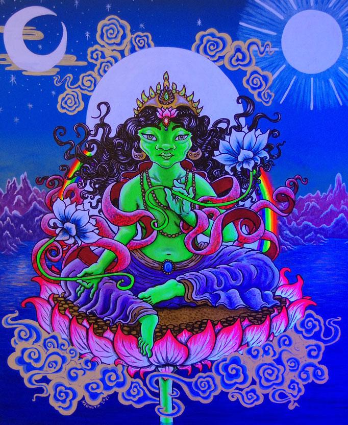 Green Tara, 2021,  Acrylic Paint, Spray Paint and Ink on Canvas. Size: 61cm x 50cm, Deep Edge Canvas, UV light