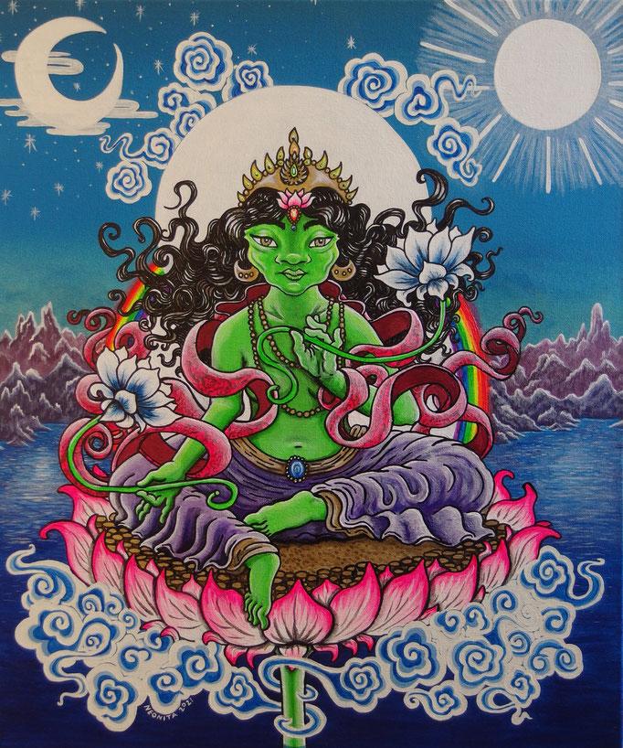 Green Tara, 2021,  Acrylic Paint, Spray Paint and Ink on Canvas. Size: 61cm x 50cm Deep Edge Canvas, Daylight