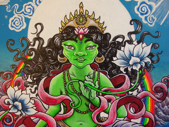 I painted the Green Tara during lockdown at a difficult time, she represents compassion as well as fighting for her place as an enlightened female thousands of years ago.