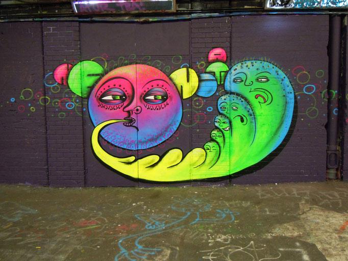 Blob Spits Neon, Leake Street, London, 2011