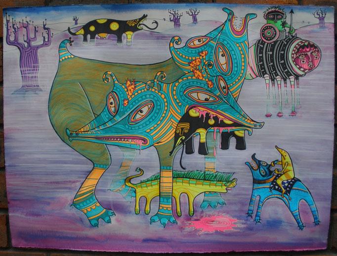 Neon Wars, Ink on Paper, 750 x 570 mm, 2009