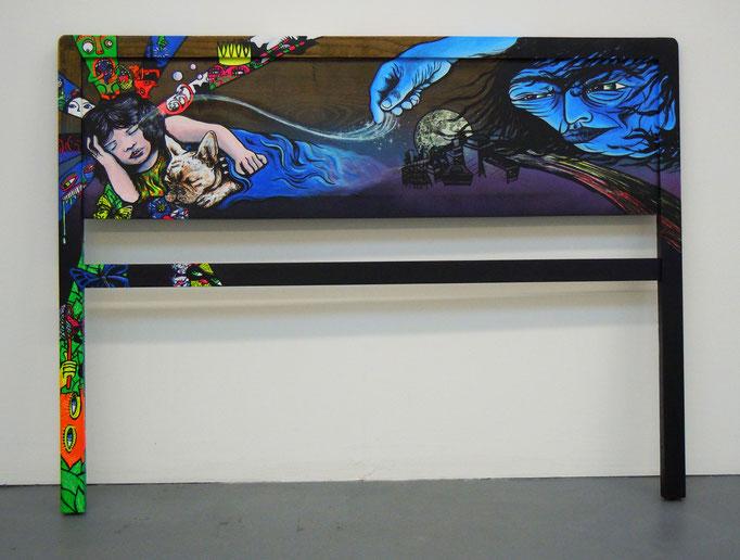 The Sandman, 2013, Acrylic Paint on old found Headboard