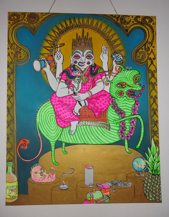 A Thank You, I created this deity image based on hindu gods, he respresents my life as an artist and is a thank you to creativity and adventure