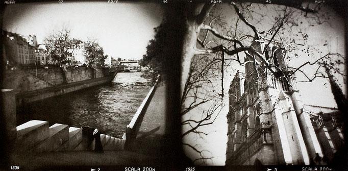 Paris Notre-Dame (2), 2008, tirage au charbon, bichromie, atelier Fresson, format image 50 × 25 cm,  2/5, © Annick Maroussy