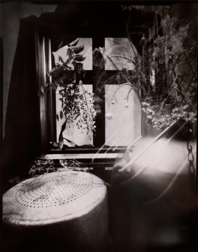 """""""Nature silencieuse à la laitière"""", Sténopé, Positif direct sur Imago, Révélation Caffenol, Épreuve unique, 4x5 inches, encadrement 30x30cm, 1/1, 2015, ©Annick Maroussy Amy"""