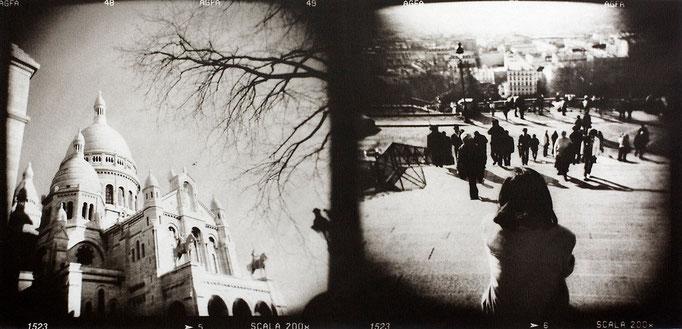 Paris Montmartre, 2008, tirage au charbon, bichromie, atelier Fresson, format image 50 × 25 cm,  1/5, © Annick Maroussy
