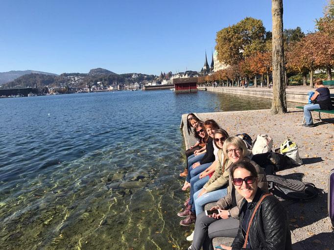 Gemütliches Sonnentanken am Abreisetag, Luzern