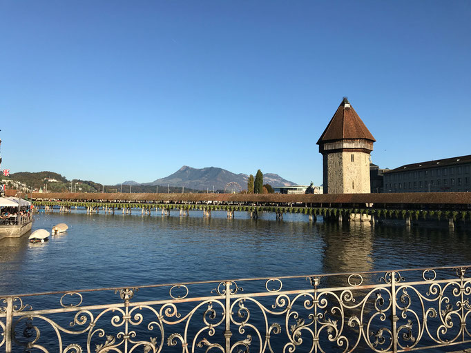 Blick auf die Kapellbrücke am Abreisetag, Luzern