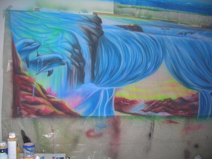 UV-Painting auf Leinenstoff , ca. 1,80m x 5m
