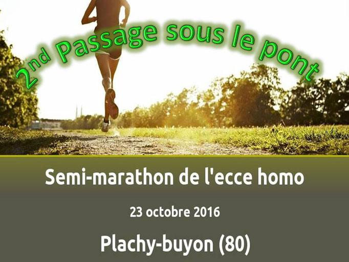 Semi Marathon de Plachy-Buyon - 2nd passage sous le pont (dép80 - 21km - Dim23/10/2016)