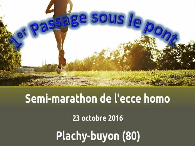 Semi Marathon de Plachy-Buyon - 1er passage sous le pont (dép80 - 21km - Dim23/10/2016)