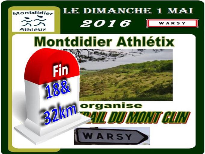 Trail du Mont Clin - Fin du 18 & 32km (Warsy - dép80 - 12/18/32km - Dim01/05/2016)