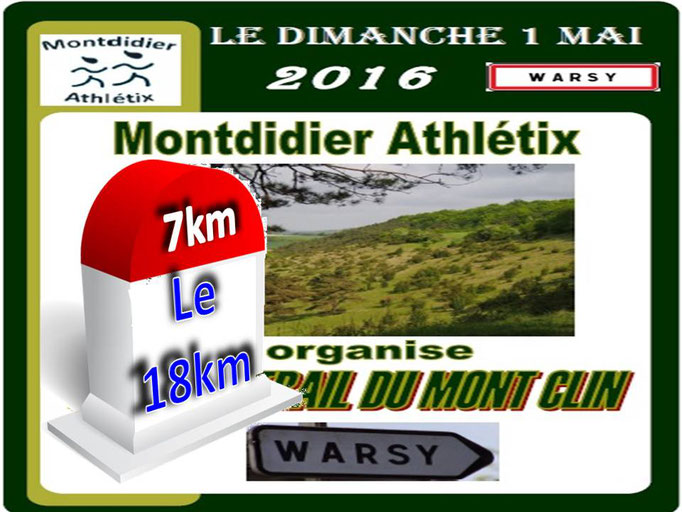 Trail du Mont Clin - Le 18km (Warsy - dép80 - 12/18/32km - Dim01/05/2016)