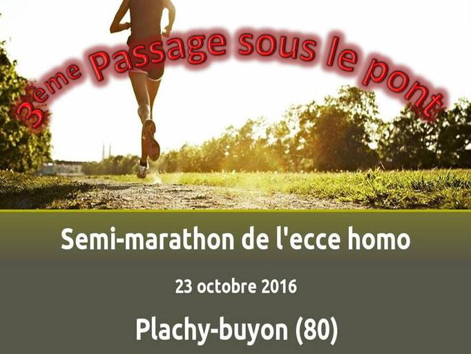 Semi Marathon de Plachy-Buyon - 3ème passage sous le pont (dép80 - 21km - Dim23/10/2016)