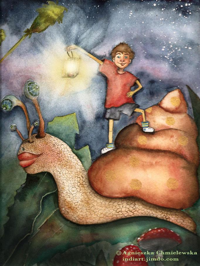 Chłopiec i ślimak - akwarela