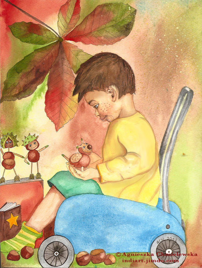 Kasztanowy chłopiec - akwarela