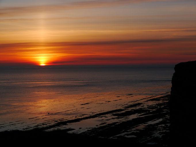 Sonnenuntergang auf Helgoland mit Felswatt