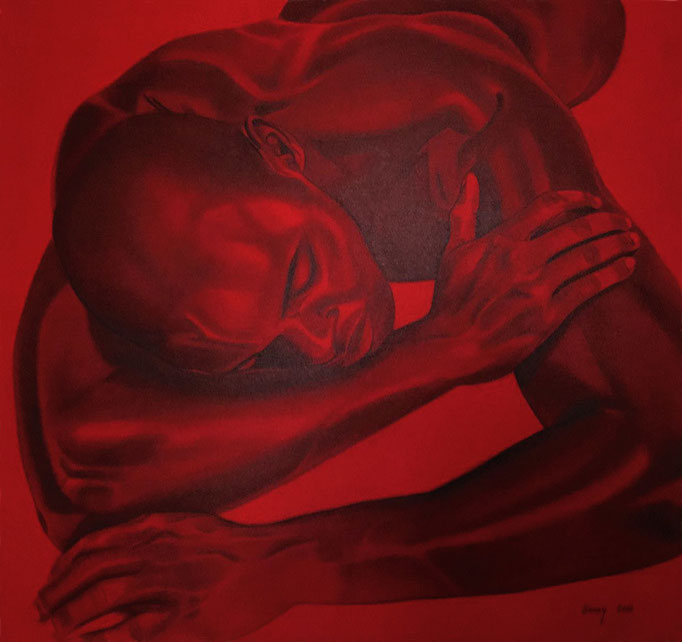 """Ruhender Männerakt"" - Sonny Lindgens - Acryl und Kohle auf Leinwand, 100 x 100 cm - 2008"