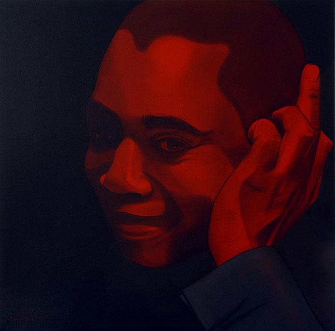 """""""Kopf"""" - Sonny Lindgens - Acryl und Kohle auf Leinwand, 100 x 100 cm - 2006"""