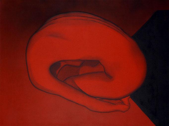 """Uterus"" (Akt) - Sonny Lindgens - Acryl und Kohle auf Leinwand, 120 x 90 cm - 2004"