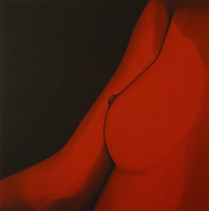 """""""Brustbild"""" - Sonny Lindgens - Acryl und Kohle auf Leinwand, 100 x 100 cm - 2005"""