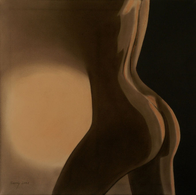 """""""Dreiteilige Serie in Rost-Orange"""" - Sonny Lindgens - 60 x 60 cm, Kohle/Acryl - 2006"""
