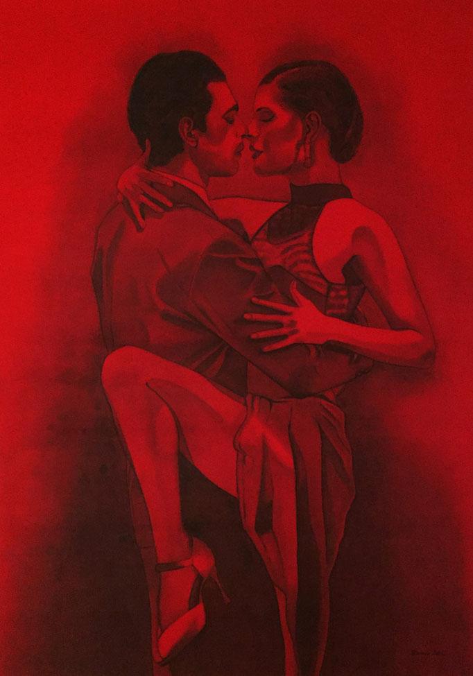 """""""Tango"""" - Sonny Lingens - Acryl und Kohle auf Leinwand, 100 x 140 cm - 2012"""