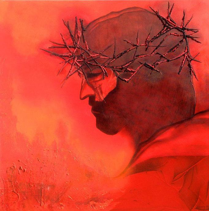 """Jesus"" - Sonny Lindgens - Acryl Mischtechnik auf Leinwand, 100 x 100 cm - 2015"