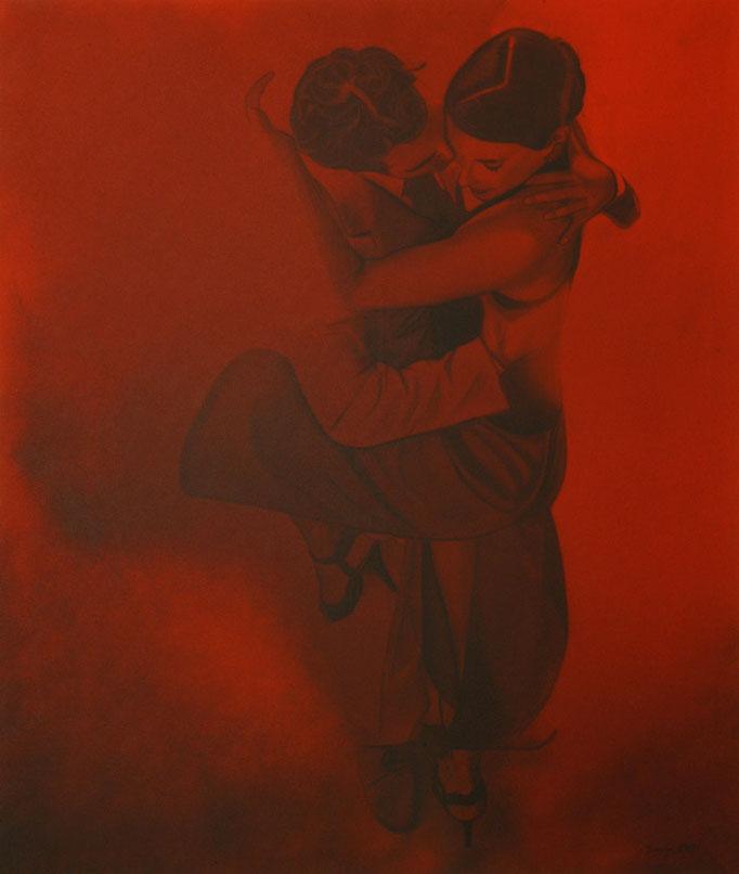 """Tango"" - Sonny Lindgens - Acryl und Kohle auf Leinwand, 100 x 120 cm - 2007"