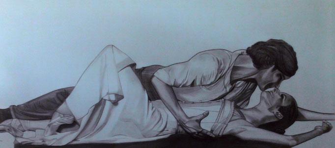 """""""Ballett bleu II"""" - Sonny Lindgens - Acryl/Pastell, 150 x 55 cm - 2012"""