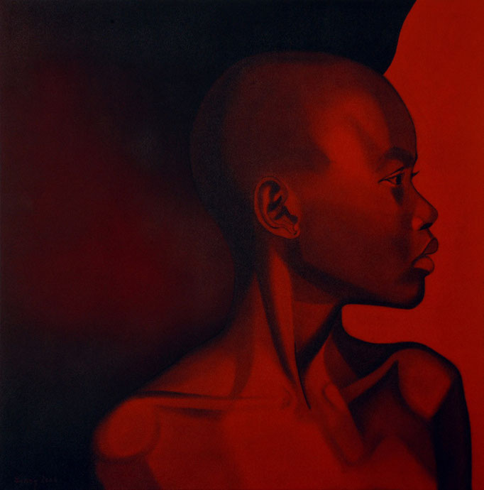 """Jungmädchenkopf"" - Sonny Lindgens - Acryl und Kohle auf Leinwand, 100 x 100 cm -"