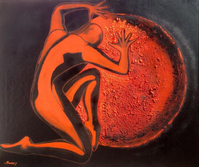 """""""Der Retter"""" - Sonny Lindgens - Acryl Mischtechnik auf Leinwand, 120 x 100 cm - 2015"""