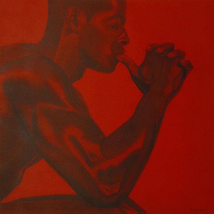 """Der Denker"" - Sonny Lindgens - Acryl und Kohle auf Leinwand, 100 x 100 cm - 2006"