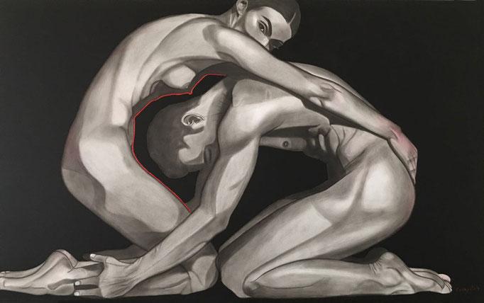 """Der rote Draht"" - Sonny Lindgens - Acryl und Kohle auf Leinwand, 120 x 80 cm - 2014"