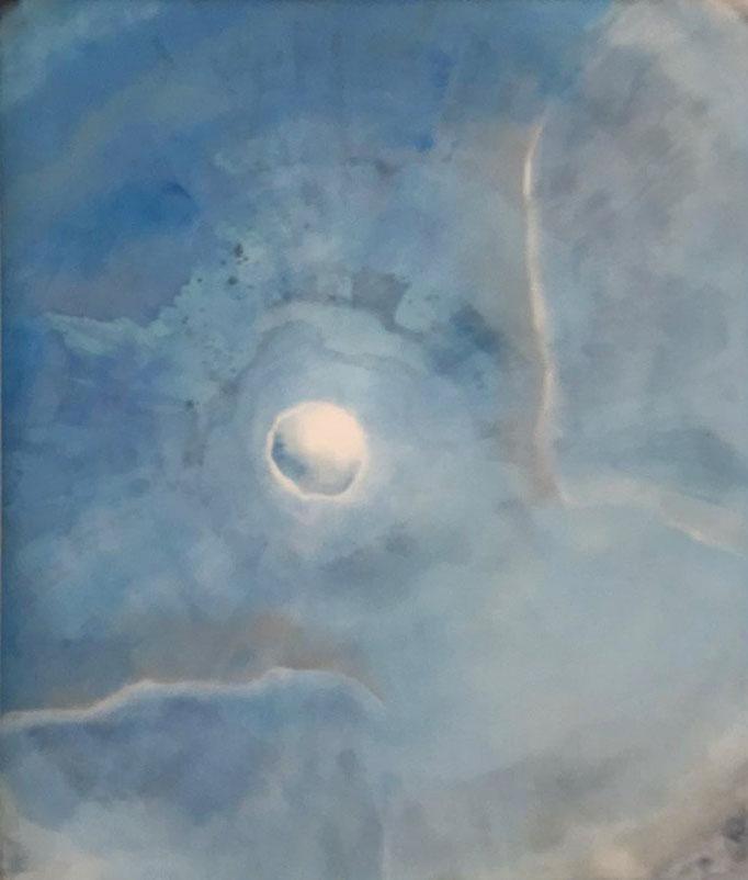 """""""Blauer Planet"""" - Sonny Lindgens - Kohle/Acryl gewaschen, 90 x 90 cm -"""