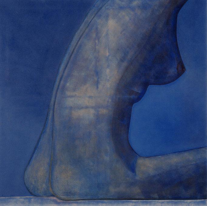 """""""Blauer Frauenhalbakt"""" - Sonny Lindgens - Acryl/Pastell, 80 x 80 cm - 2000"""