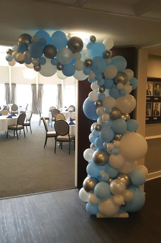 Air-Filled Balloon Organic Demi Half Arch Demi-Arch Blue White Silver