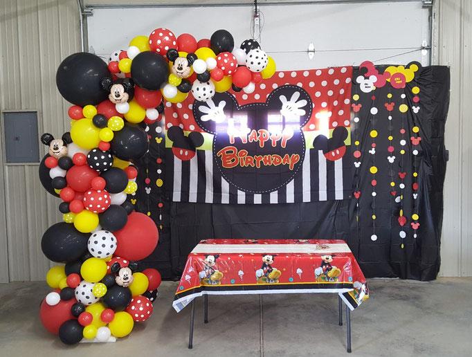 Air-Filled Balloon Organic Demi Half Arch Mickey Mouse Polka Dot