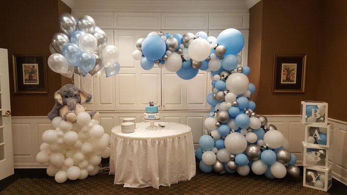 Air-filled Balloon Organic Sculpture Demi-Arch Blue White Silver