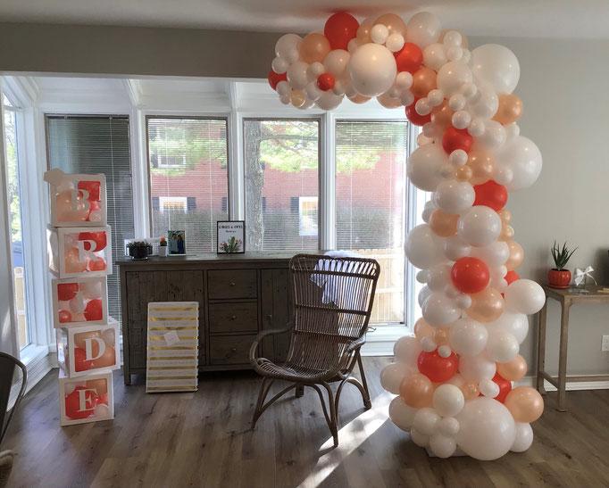 Air-Filled Balloon Organic Demi Half Arch Demi-Arch White Coral Peach