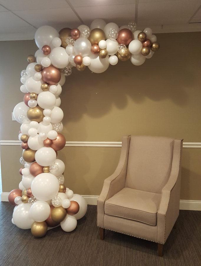 Air-Filled Balloon Organic Demi Half Arch Rose White Gold