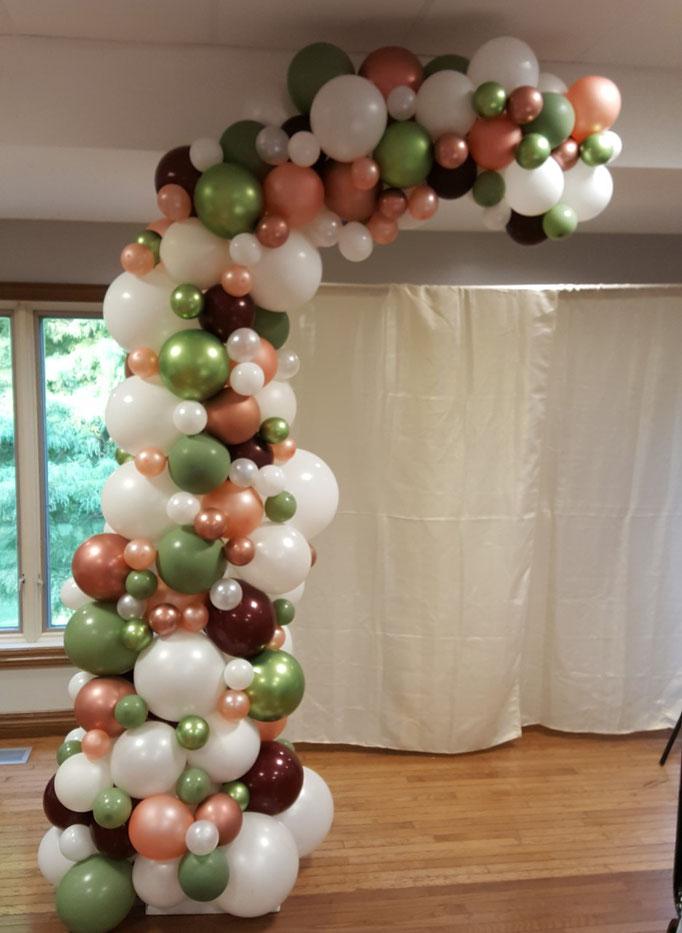 Air-Filled Balloon Organic Demi Half Arch Burgundy White Eucalyptus Green Rose