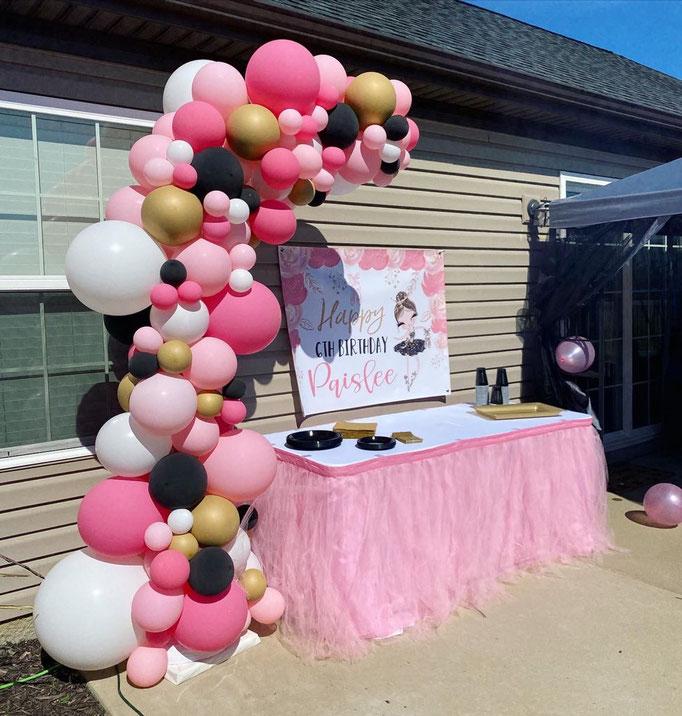Air-Filled Balloon Organic Demi Half Arch Demi-Arch Pink