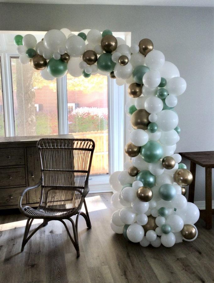 Air-Filled Balloon Organic Demi Half Arch Demi-Arch White Sage