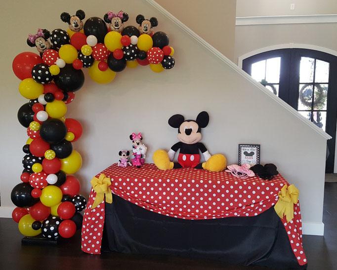 Air-Filled Balloon Organic Demi Half Arch Mickey Minnie Mouse
