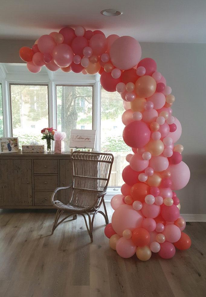 Air-Filled Balloon Organic Demi Half Arch Pink Rose Peach