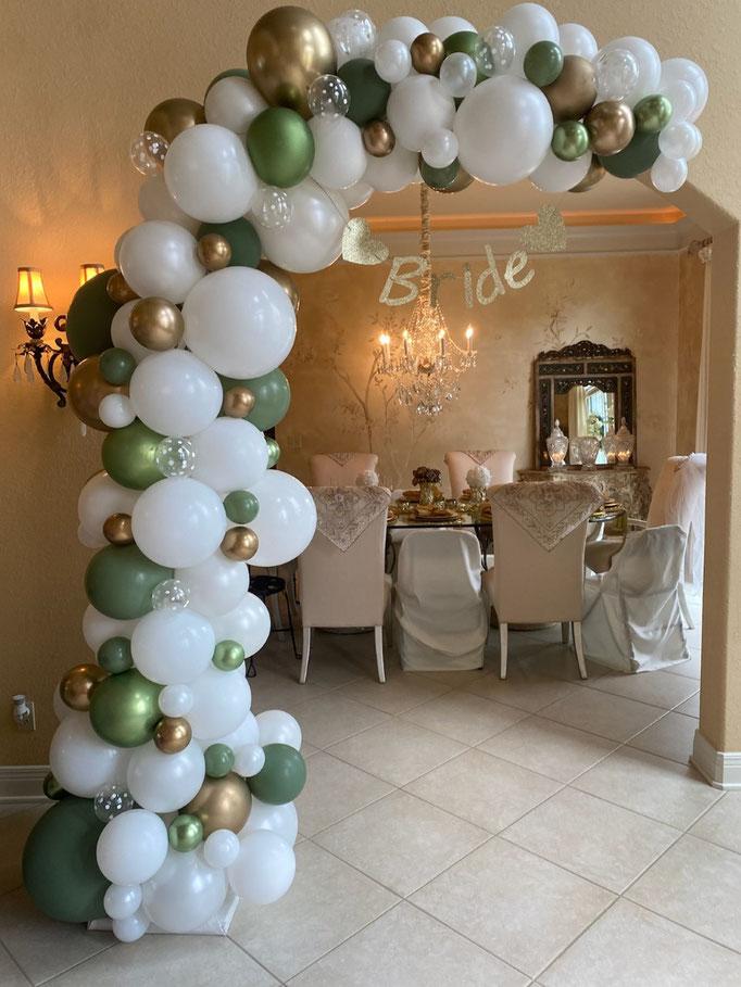 Air-Filled Balloon Organic Demi Half Arch Eucalyptus Green White Gold