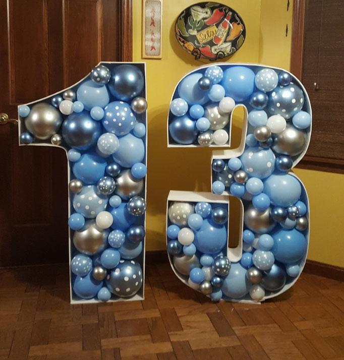Air-filled Balloon Mosaic 1 3 Blue Silver Sky