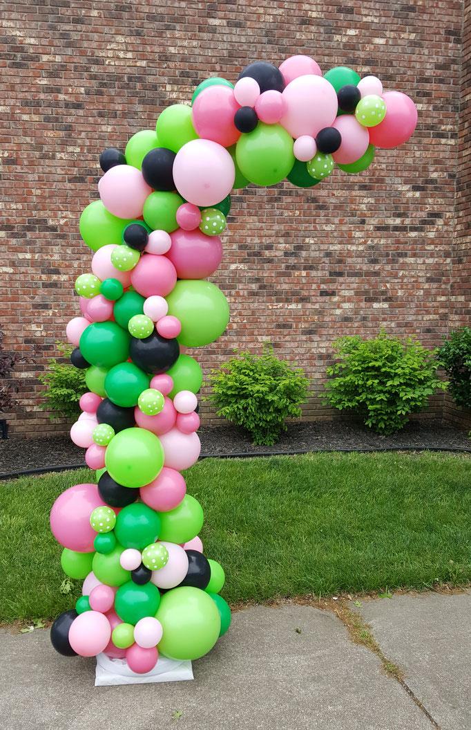 Air-Filled Balloon Organic Demi Half Arch Watermelon Pink Green