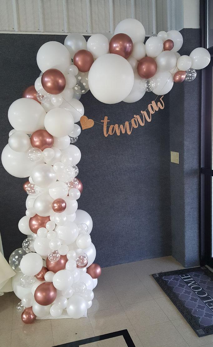 Air-Filled Balloon Organic Demi Half Arch Demi-Arch White